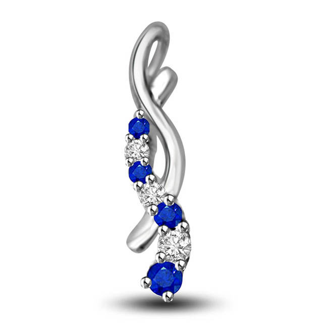 One By One:Diamond Alternating With Sapphire White Gold Pendants