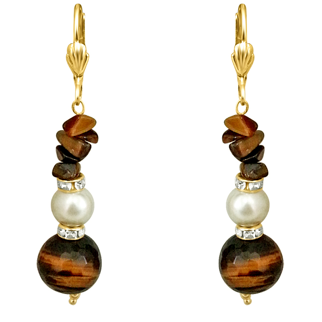 One of it's Kind -Tiger Eye & Shell Pearl Earrings.