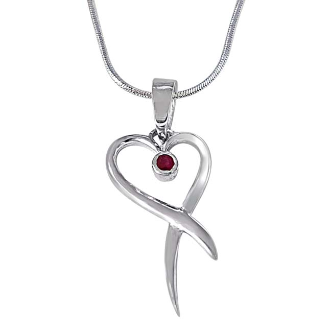 Our Nest is Blessed Red Ruby & 925 Sterling Silver Pendant with 18 IN Chain
