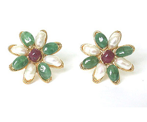 Oval Emerald, Ruby & Peach Pearl Star Shape Earrings SE -122 -Flower Shape Earrings