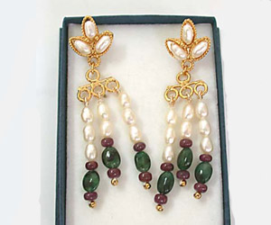 Oval Emerald, Ruby Beads & Rice Pearl Earrings