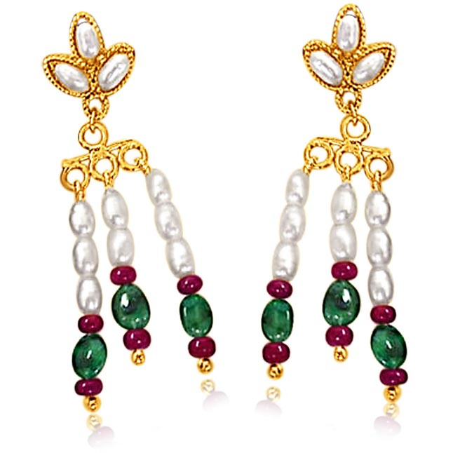 Oval Emerald, Ruby Beads & Rice Pearl Earrings