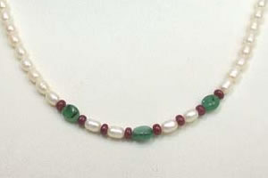 Oval Emerald, Ruby Beads & Rice Pearl Necklace