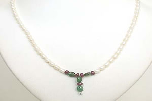 Oval Emerald, Ruby Beads & Rice Pearl Necklace SN465