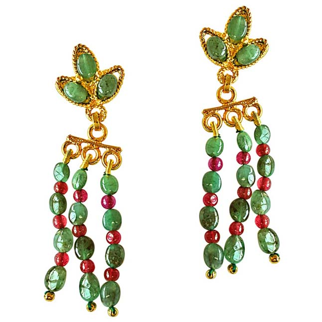 Oval Emerald & Round Ruby Beads Gold Plated Hanging Earrings