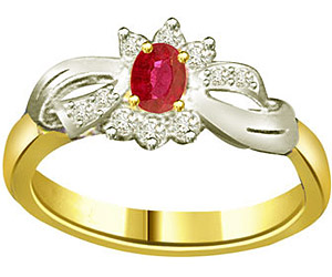 Oval Ruby 0.20ct Diamond Two Tone rings