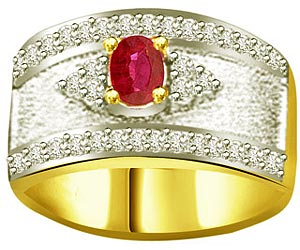 Oval Ruby 0.21ct Diamond Two Tone rings