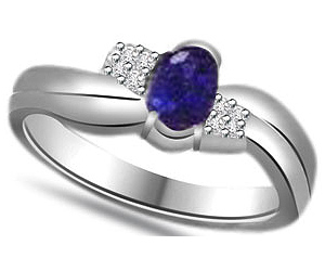 Oval Sapphire 0.12 cts Diamond White Gold 14K rings -Designer