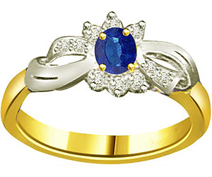 Oval Sapphire 0.20 cts Two Tone Diamond rings