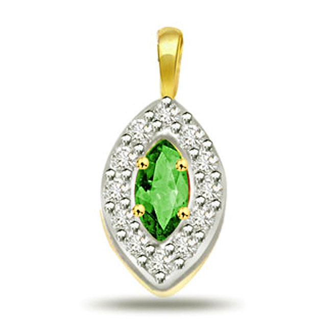Oval Shape Diamond & Emerald Pendants
