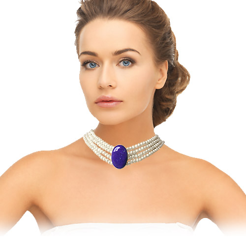Oval Shaped Blue Lapiz & Silver Pendants & 4 Line Freshwater Pearl Choker Necklace -Pearl Choker