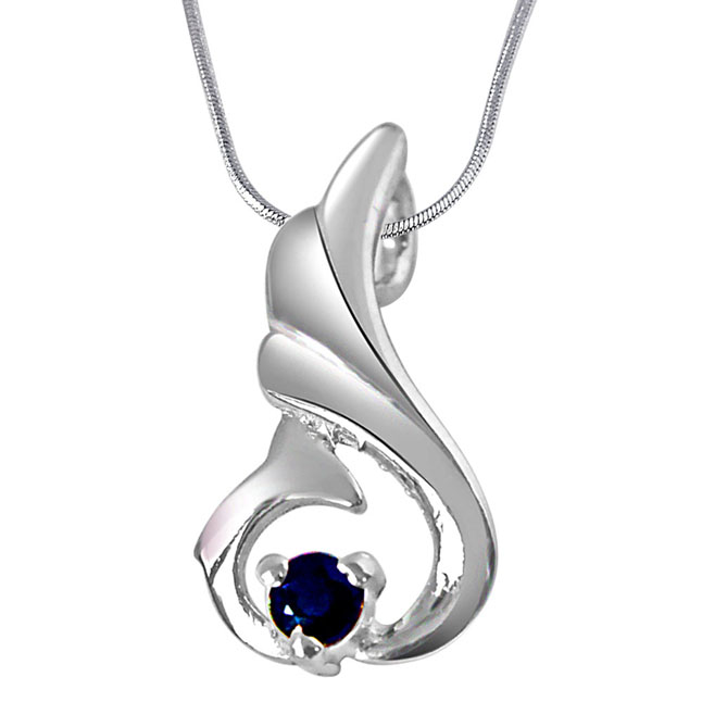 "Over The Hill Blue Sapphire & Sterling Silver Pendants with 18"" Chain"