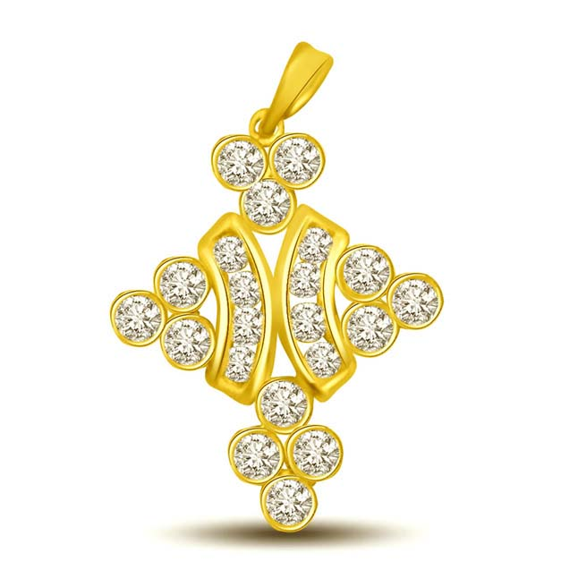 Shimmerings Sunflower 0.21CT Fancy Design 18kt Gold & Diamond Pendants -Designer Pendants