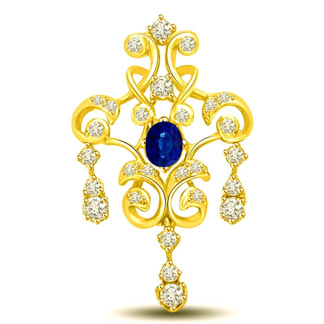 Glittery Floral Effect 0.28CT Oval Sapphire & Diamond 18kt Gold Pendants