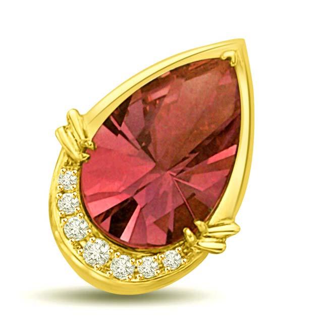 You are in My Arms Tourmaline & Diamond Pendants -Dia+Gemstone