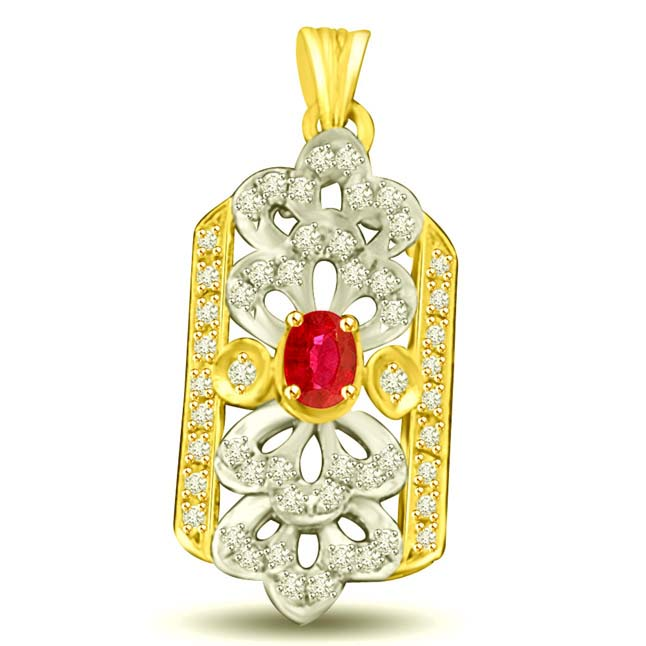 Diamonds Ocean 0.52CT Ruby & Diamond Two Tone Gold Pendants for Her
