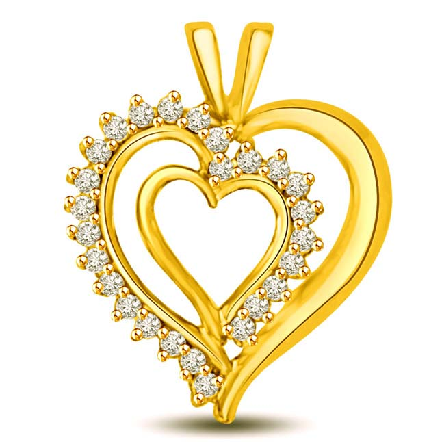 My heart is Beating 0.26ct Diamond & Gold Pendants