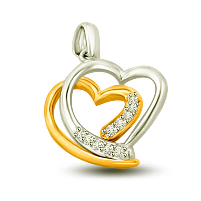 Harmonious Love 0.05 cts Dual Heart Diamond Pendants
