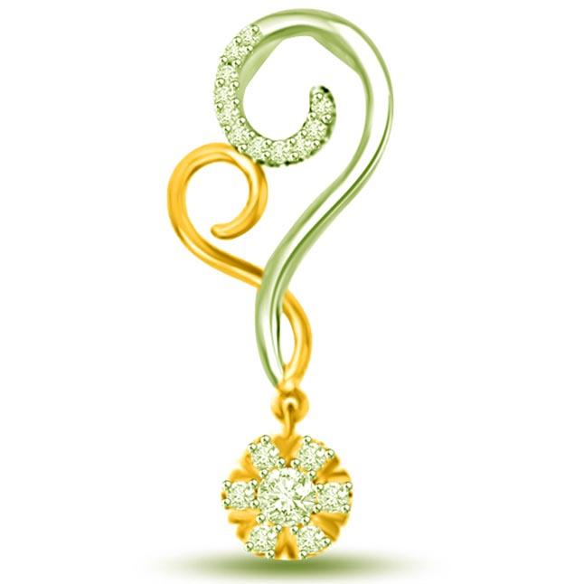 Love Circle 0.15 cts Heart Shape Flower Diamond Pendants