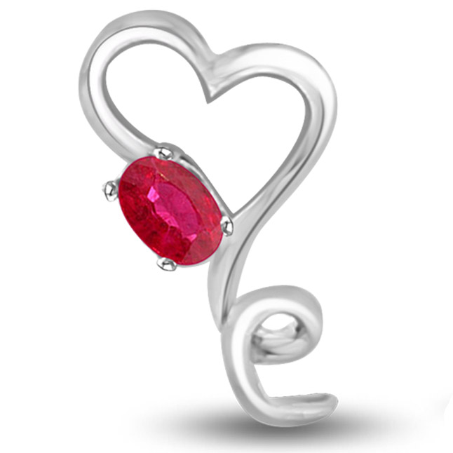 Cutie Hearts 0.15 cts White Gold Ruby Pendants