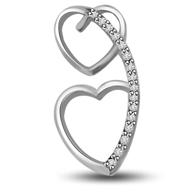 For You & Me 0.16 cts Twin Heart White Gold Diamond Pendants