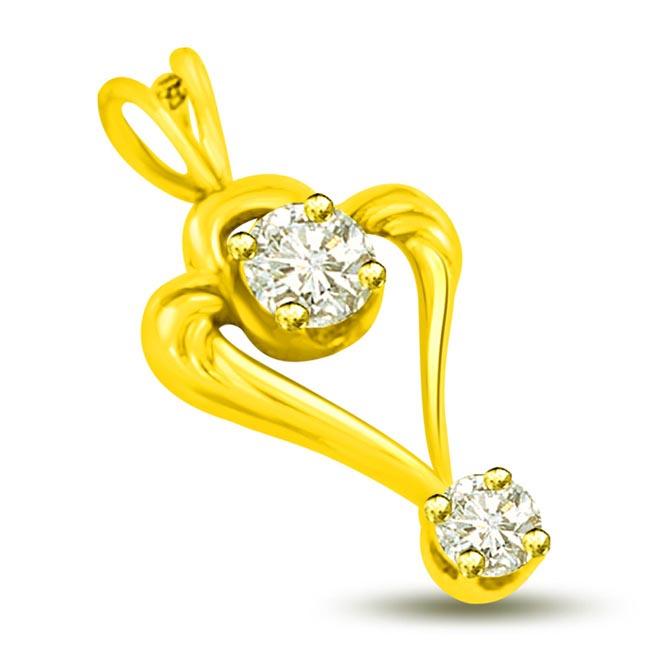 You & Me Together 18k Yellow Gold Diamond Heart Pendants