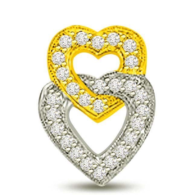 Two Tone Love Entwined Diamond Heart Pendants