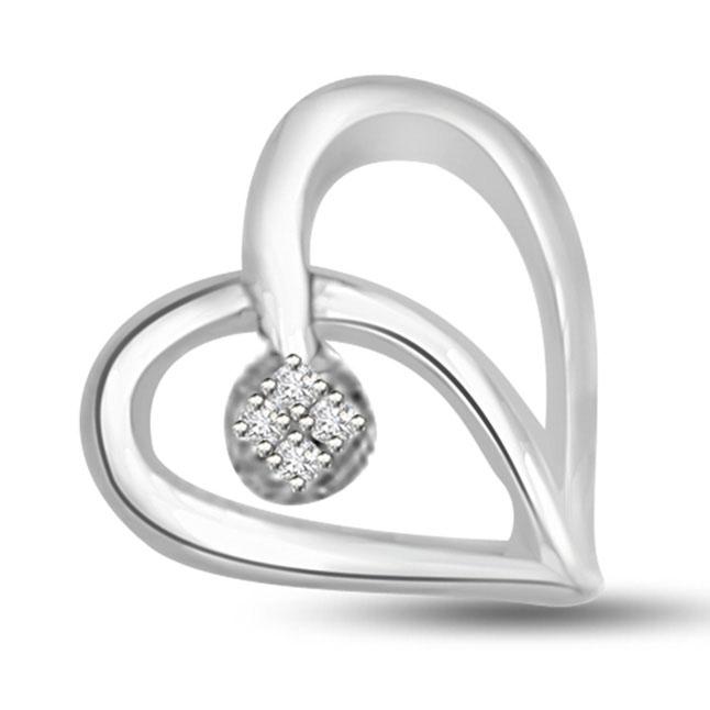 Stylish Elegance Diamond Heart Pendants in 14kt
