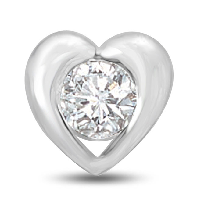 Big Solitaire Round Diamond Heart Pendants for Ladylove -Solitaire