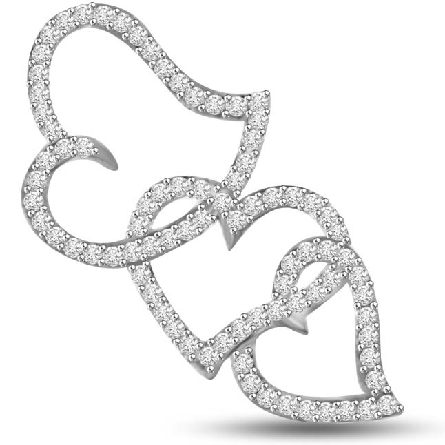 3 Is a Triangle White Gold Diamond Heart Pendants