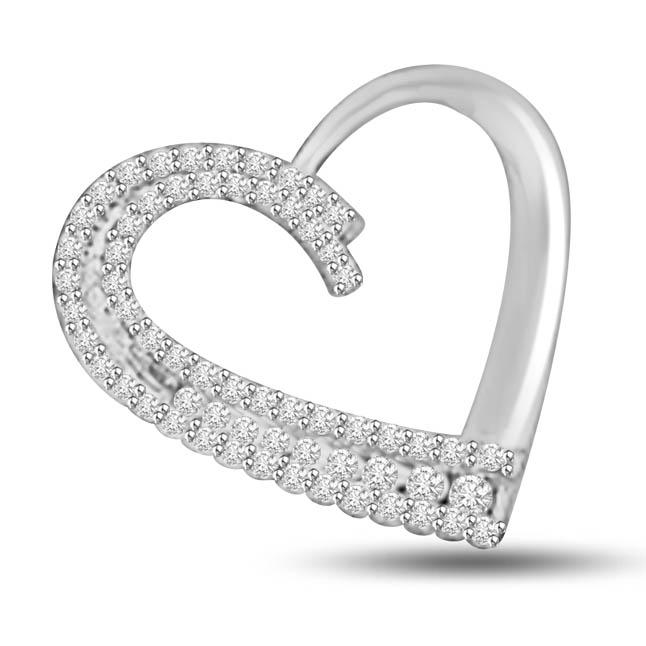Cudding Each other White Gold Diamond Heart Pendants
