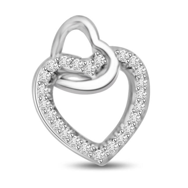Love Makes the World go Round Diamond Heart Pendants