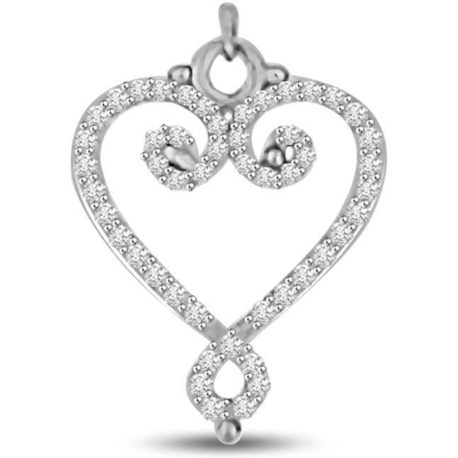 Light of My Life White Gold Diamond Heart Pendants