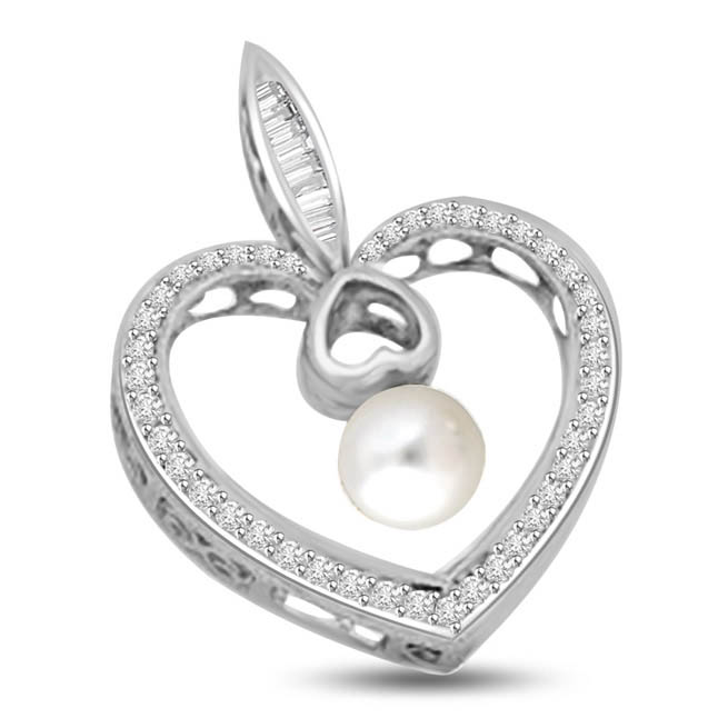 Pearl & Diamond 14K White Gold Heart Love Pendants