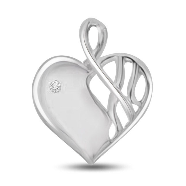 I am Yours White Gold 14k Diamond Heart Pendants