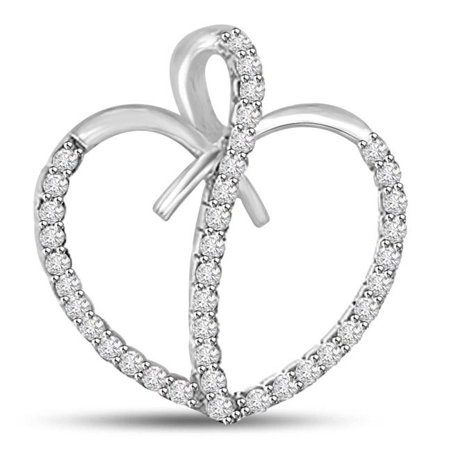 You're Captivating White Gold 14kt Diamond Heart Pendants