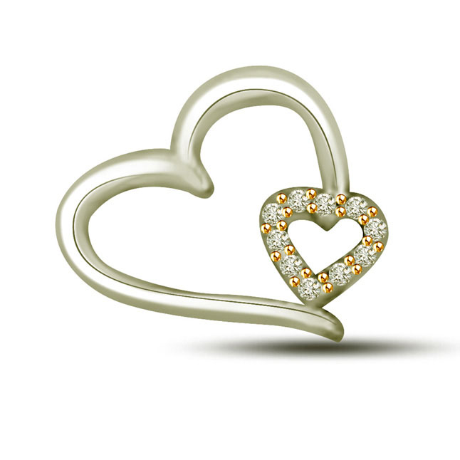 Queen of Love 0.05 cts Dual Heart White Gold Diamond Pendants