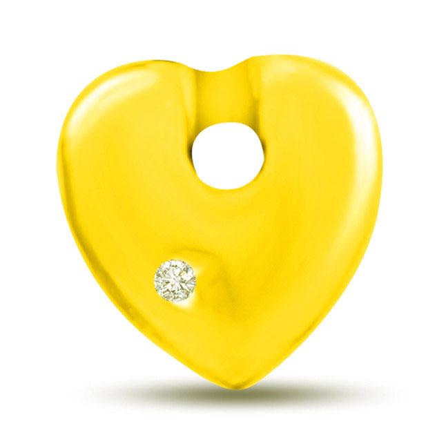 You're My Sunshine Yellow Gold Diamond Heart Pendants