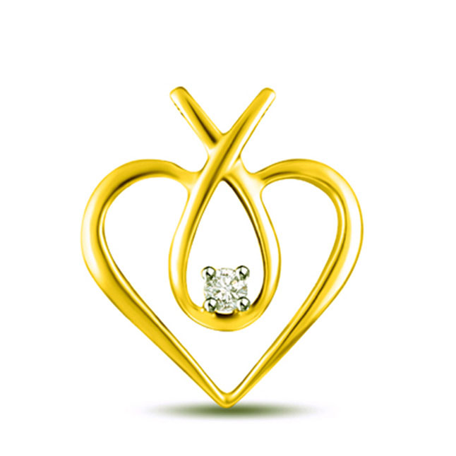 Golden Love 0.025 cts Heart Shape Diamond Pendants
