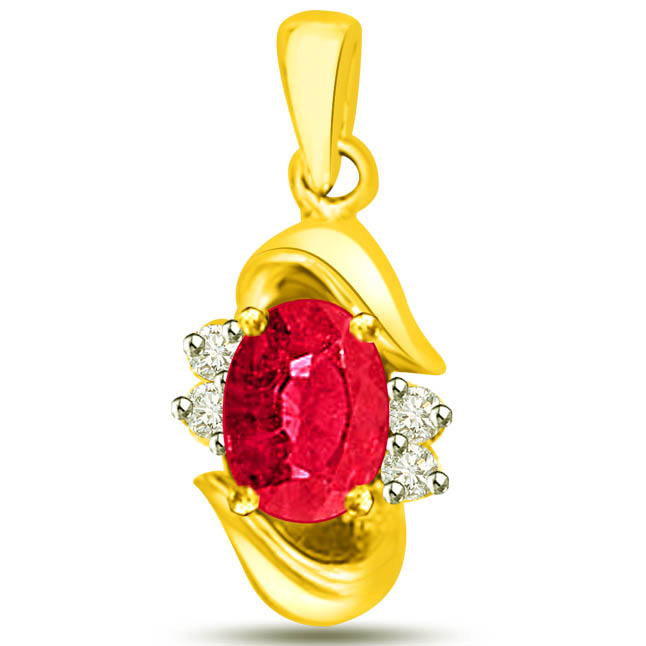 Stunning Red Ruby Diamond Pendants In Yellow Gold -Diamond -Ruby