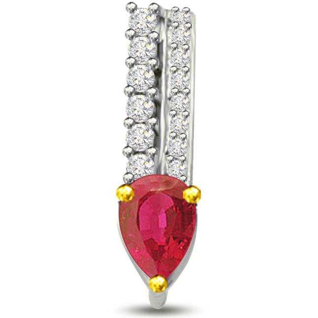 Beautiful Pear Shaped Ruby Round Diamond Pendants -Diamond -Ruby