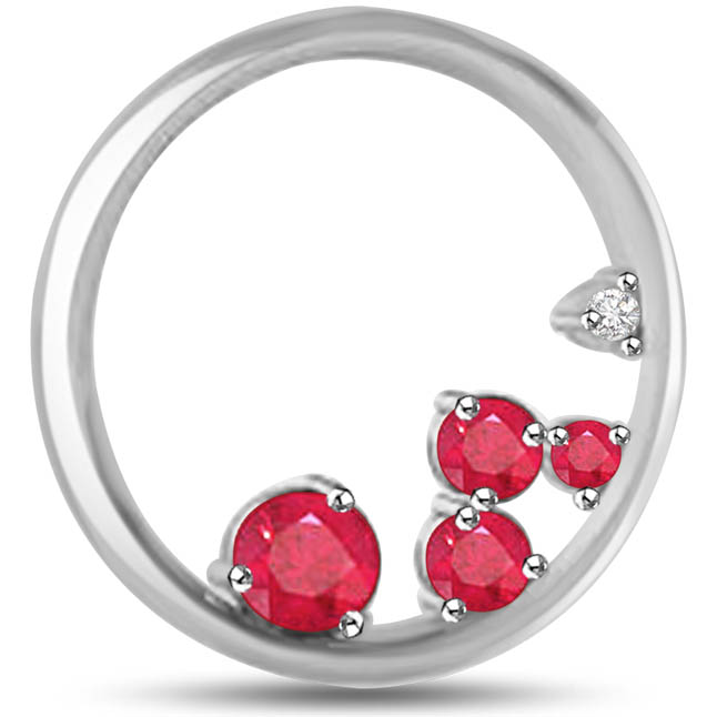 Royal Shine Ruby Pendants White Gold Along With Diamond -Diamond -Ruby