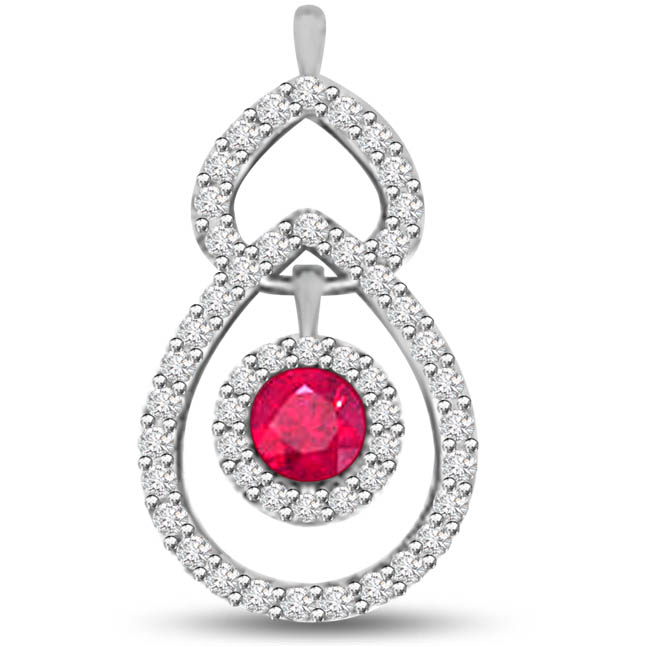 True Beauty Drop Shaped Diamond Pendants With A Red Round Ruby -Diamond -Ruby