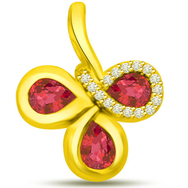 Glitter of Life 0.60 Tcw Red Ruby Pendants With Diamonds In Yellow Gold -Diamond -Ruby