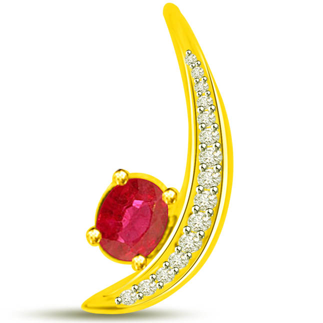 Brilliant Bling Stunning Yellow Gold Pendants Of Ruby Diamonds -Diamond -Ruby