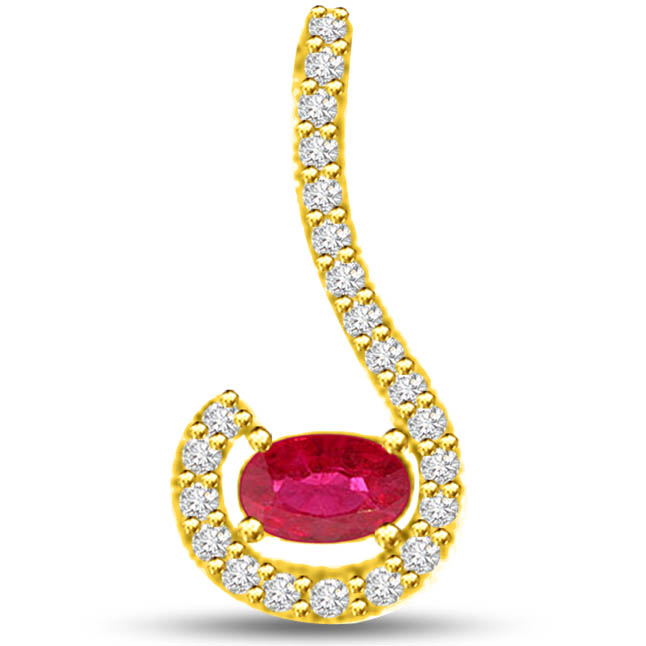 Sparkling Beauty Designer Pendants Of Diamonds Ruby In Yellow Gold -Diamond -Ruby