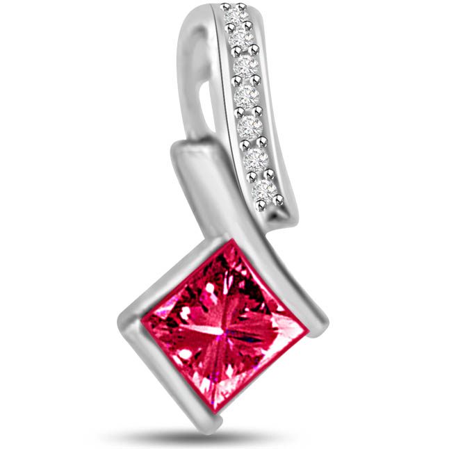 Brighten Magic 0.32 TCW Diamond Ruby Pendants In White Gold -Diamond -Ruby