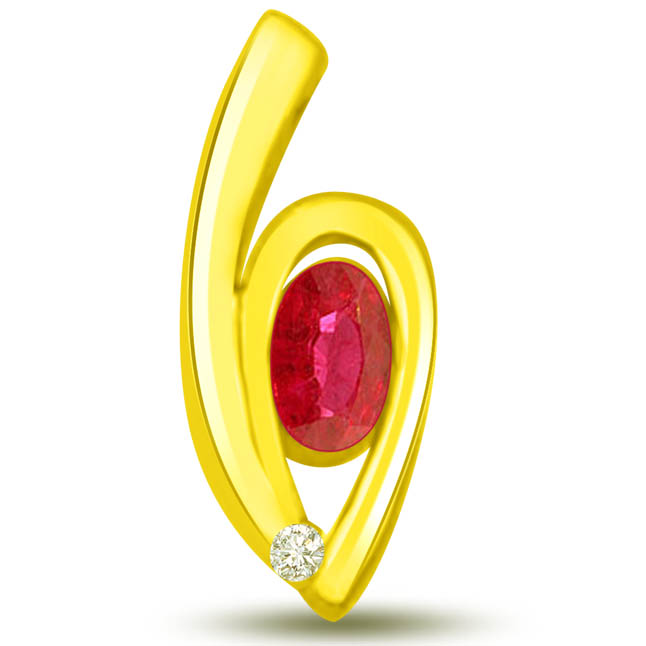 Sun Magic Stunning Ruby Diamond Pendants In Yellow Gold -Diamond -Ruby