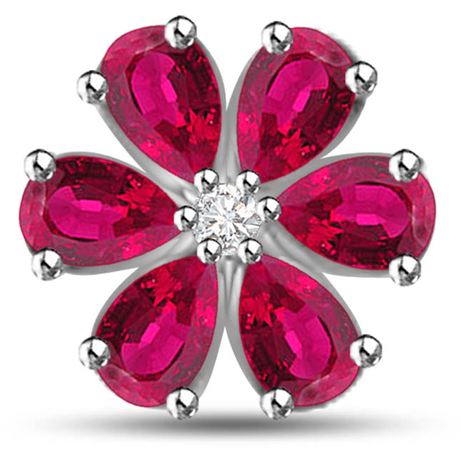 Red Flower 1.54 TCW Flower Shaped Ruby Pendants In White Gold -Diamond -Ruby