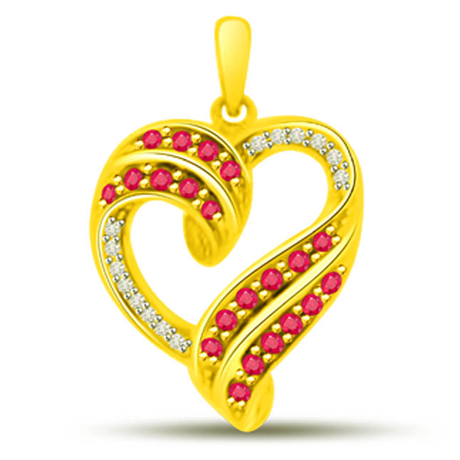 Carings Love Heart Shaped Ruby Diamond Pendants In Yellow Gold -Diamond -Ruby